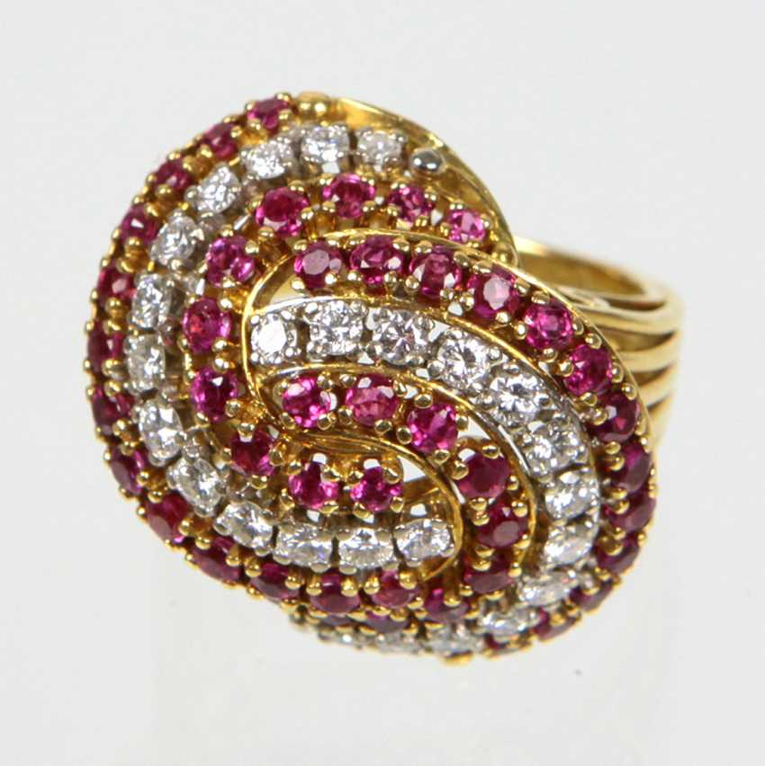 exclusiver Rubin Diamant Ring - Gelbgold/WG 750 - photo 1