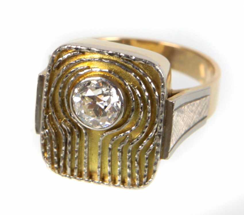 Brillant Ring 1 Carat - Gelbgold/WG 585 - photo 1