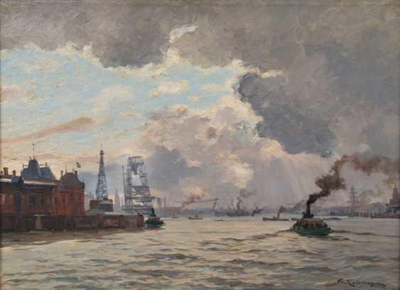 Barge in the port of Hamburg. Friedrich Kallmorgen - photo 1