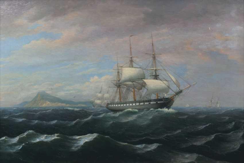 Frigate at Gibraltar. Vilhelm melbye, d-abfa, zugeschr. - photo 1