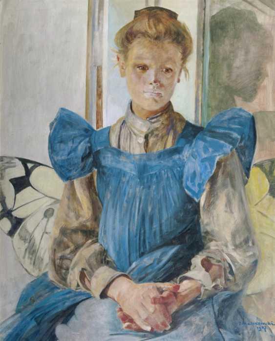 Julia, the daughter of the artist, in a butterfly chair. Jacek von Malczewski - photo 1