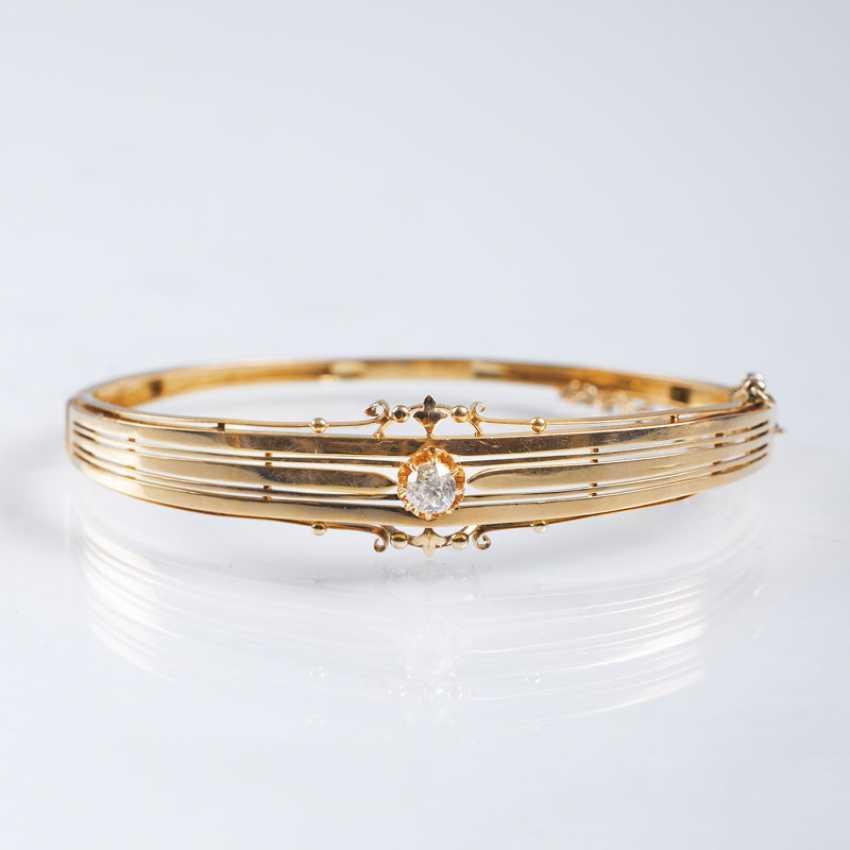 Art Nouveau bangle bracelet with old European cut diamond - photo 1