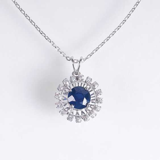 Pendant with natural sapphire and diamond insert on the chain - photo 1