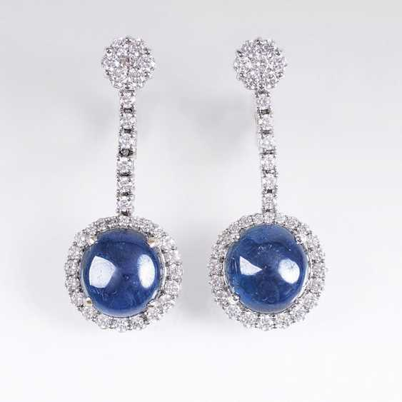 Pair of brilliant earrings with natural sapphires - photo 1
