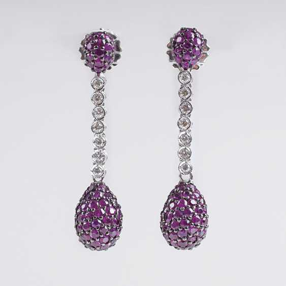 Pair Of Ruby And Diamond Earrings - photo 1