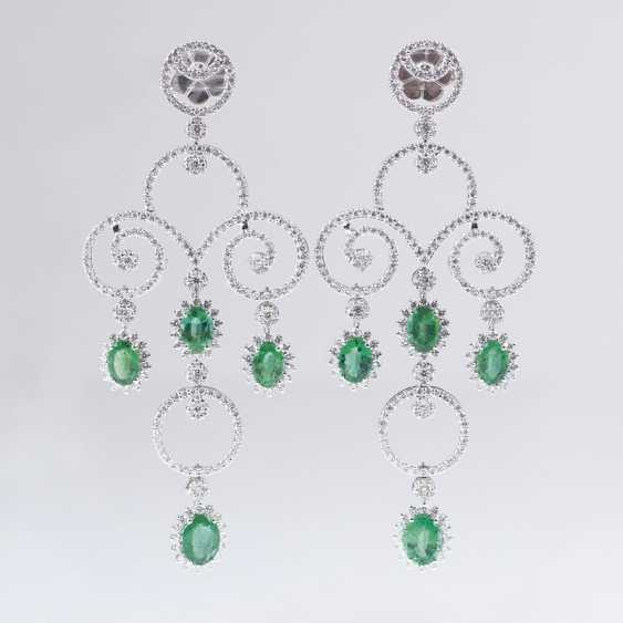 Pair of high-fine, elegant emerald and brilliant-Chandeliers - photo 1