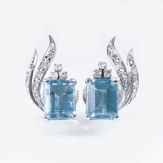 Pair Of Aquamarine And Diamond Earrings - photo 1