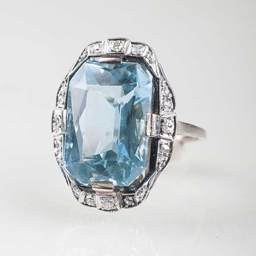 Art Nouveau Aquamarine And Diamond Ring - photo 1