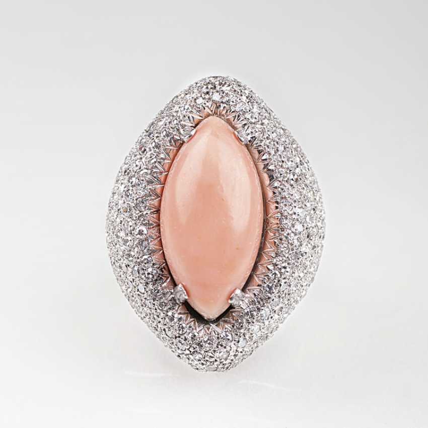 Large angel skin coral Ring with diamond trim - photo 1