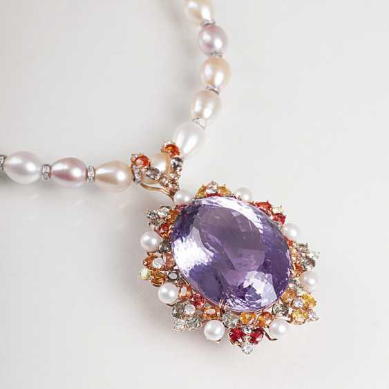 Large Amethyst-sapphire-clip pendant with bead chain - photo 1
