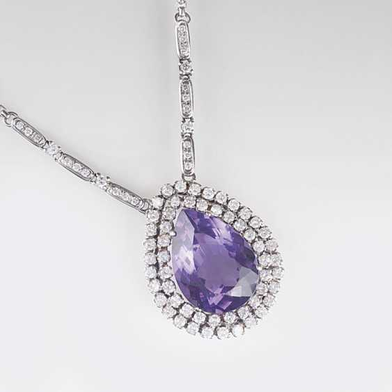 Big Amethyst and diamond pendant with chain - photo 1