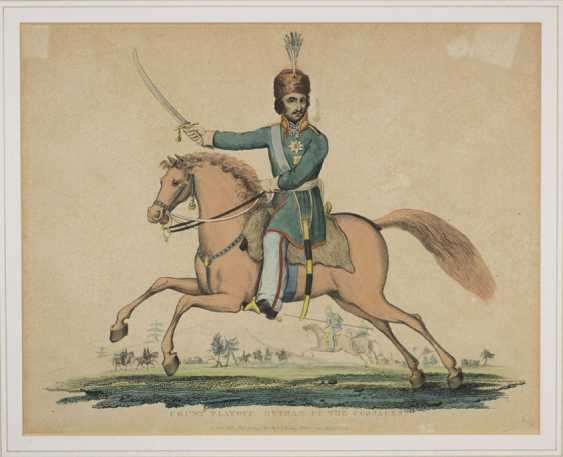 """EVANS RICHARD (after). """"The Count PLATOFF, chief of the Cossacks"""". Engraving in colors. 22.5 x 28 cm. - photo 1"""
