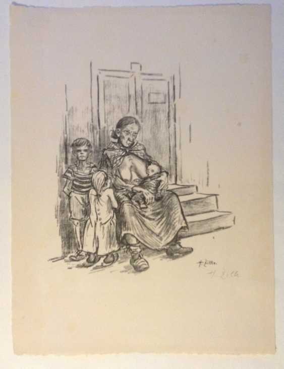 "HEINRICH ZILLE,""Hunger"", lithograph, hand-signed - photo 1"