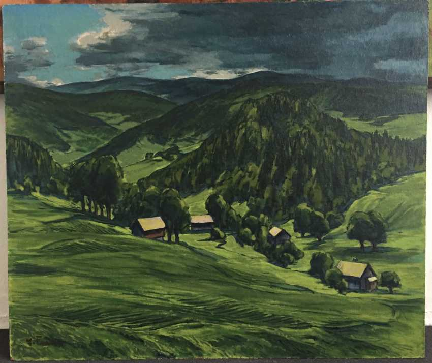 "ERICH FRAASS, ""Vogtland"",Oil on masonite, signed, 1960s - photo 1"