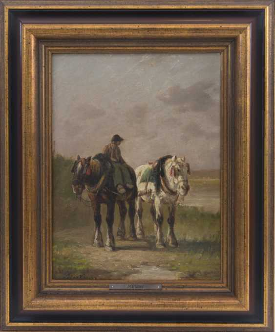 MARTINEZ DE LA VEGA. Horses in the grid, 1890, Oil on canvas - photo 1