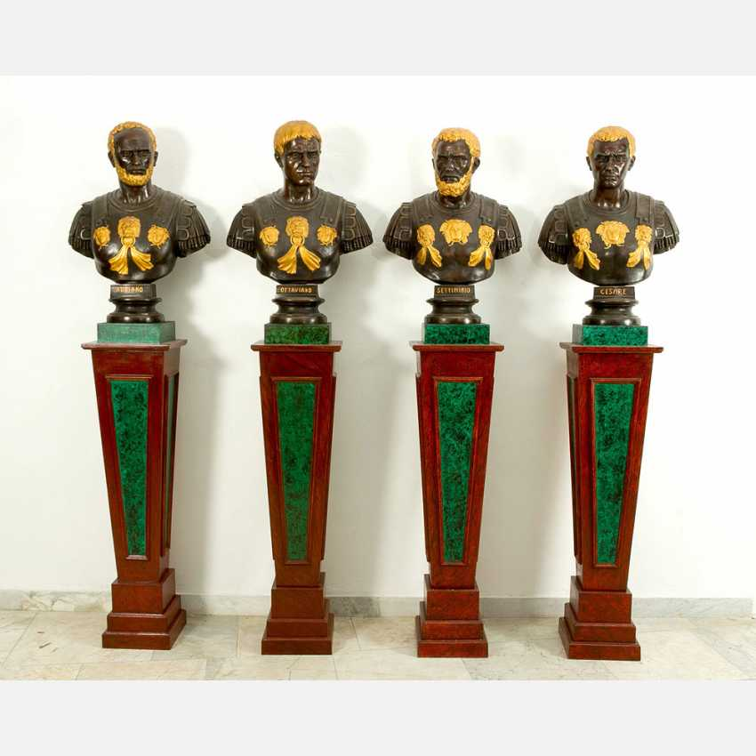 Chiurazzi Foundry (1870-1939), Four busts of ancient emperors