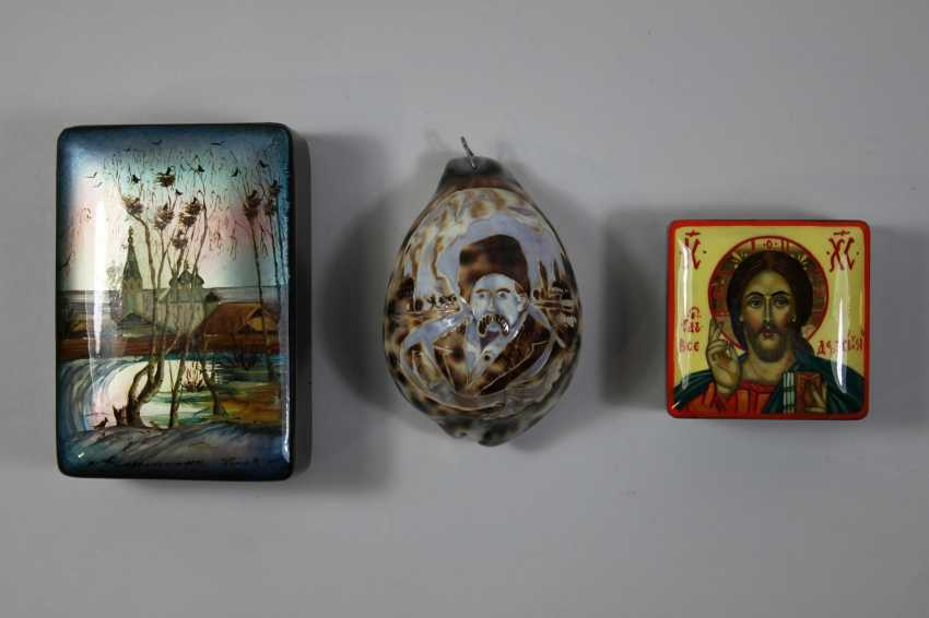 Mixed lot of 3-PCs: 1 shell carving and 2 paint cans - photo 1