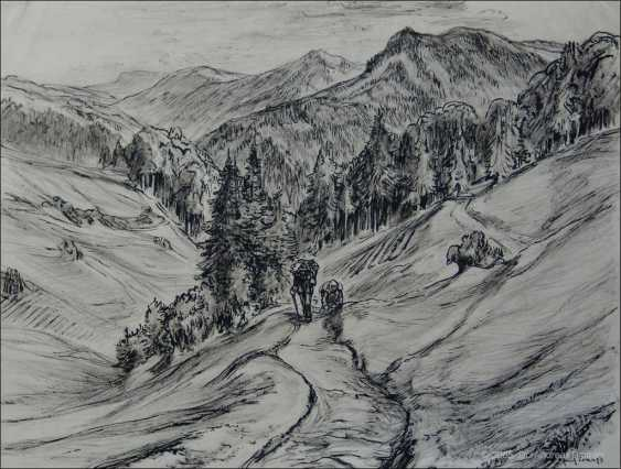 """ERICH FRAASS, """"Saxon Switzerland in Sebnitz"""", ink drawing, signed, 1930s - photo 1"""