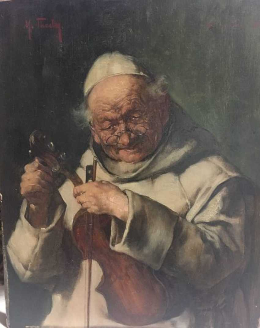 """MAX THEDY, """"a Franciscan monk with violin"""", Oil on cardboard, signed and dated - photo 1"""