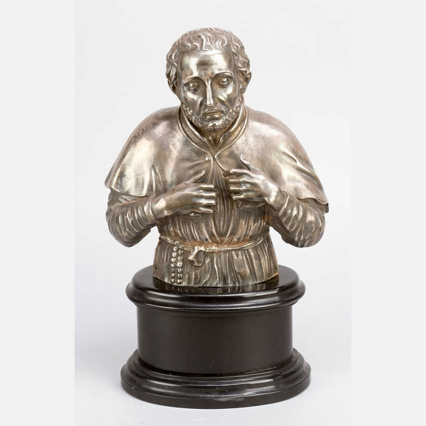 Italian silver sculpture of a saint
