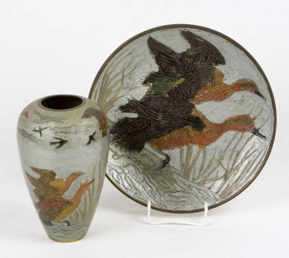 Vase & dish with hunting decor - photo 1