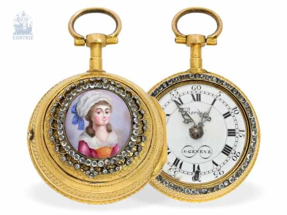 Pocket watch: exquisite, early Geneva double case-Spindeluhr with enamel-painting, Bordier a Geneve, No. 36505, 1770 - photo 1