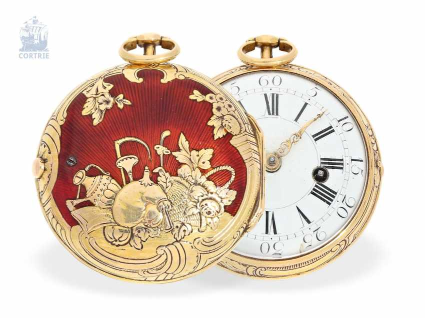 Pocket watch: very beautiful Gold/enamel Spindeluhr with excellent housing quality, Melly Paris, 1770 - photo 1
