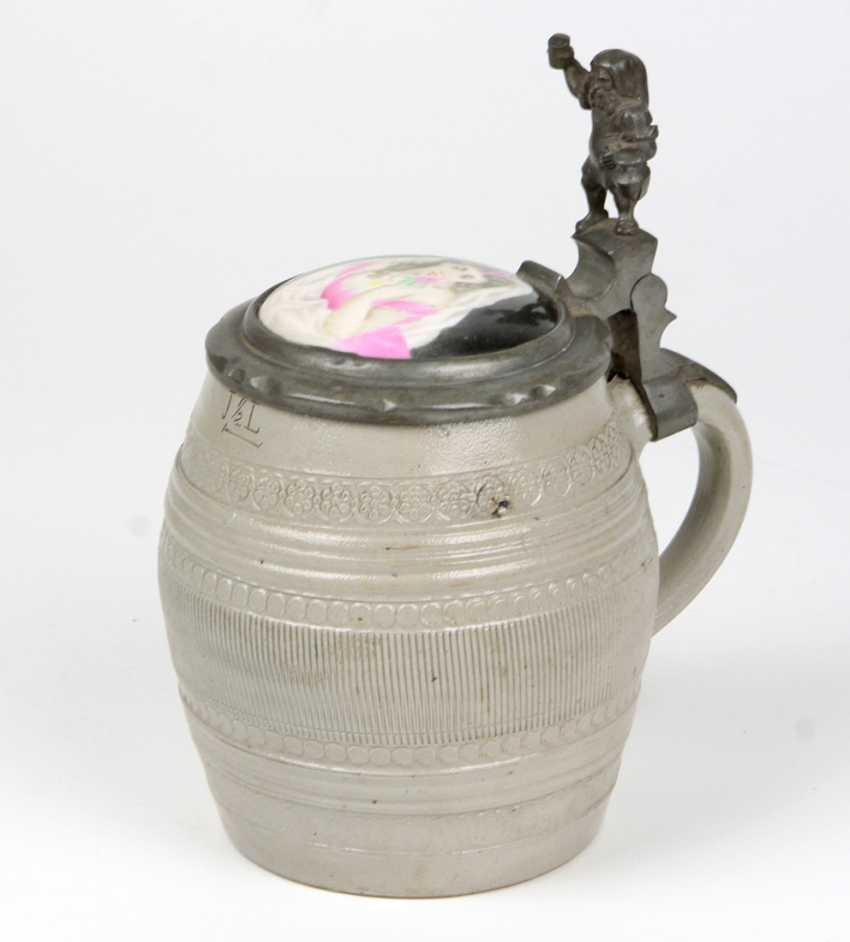 Salt glaze jug with hand painted porcelain lid - photo 1
