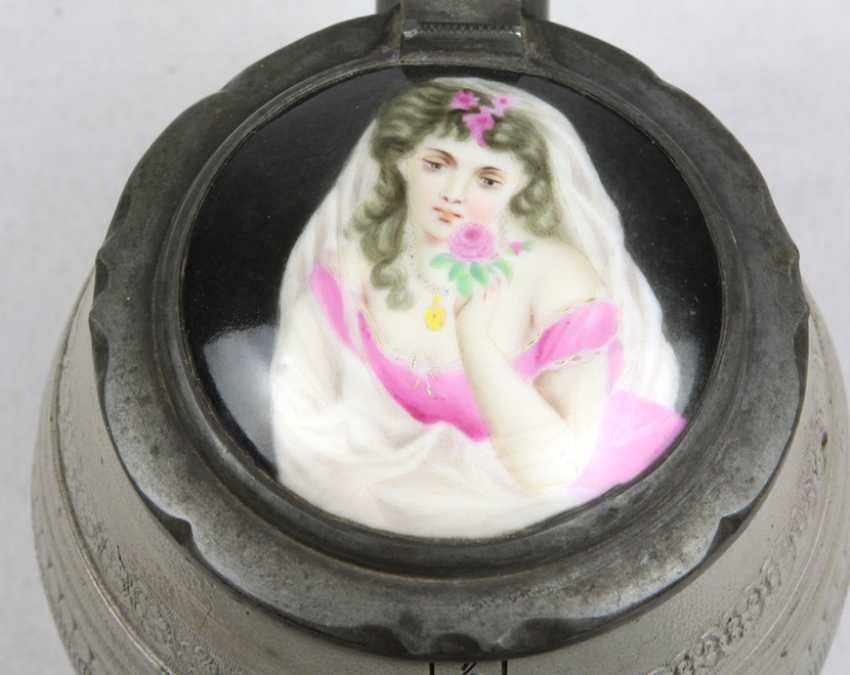 Salt glaze jug with hand painted porcelain lid - photo 2