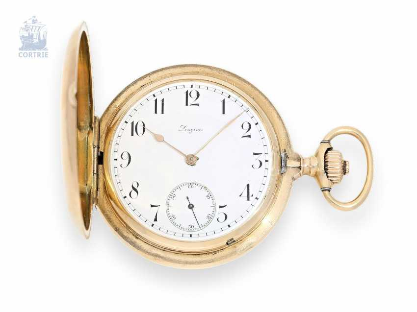 Pocket watch: especially heavy and high-quality Longines Chronometer caliber 21.53, 14K rose gold, around 1900 - photo 1