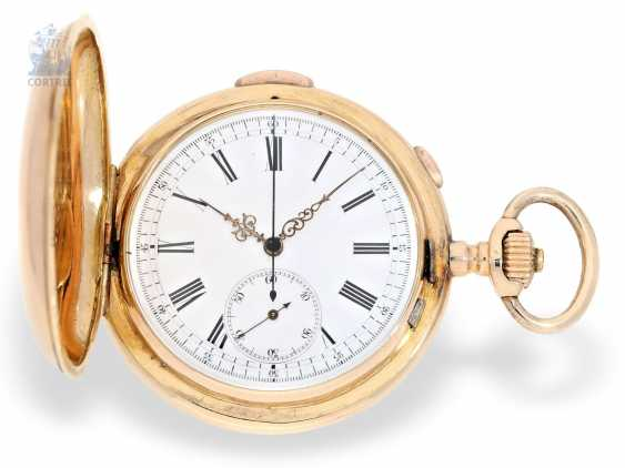 Pocket watch: a particularly heavy red-gold Le Phare gold savonnette with Repetition and Chronograph, Switzerland, around 1900 - photo 1