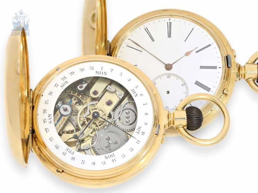 Pocket watch: extremely heavy Gold Savonnette with the rare, rear-side calendar, Anchor chronometer, Switzerland, around 1870 - photo 1