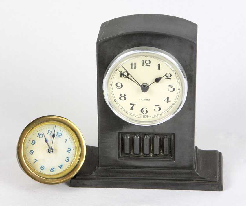 Art Deco table clock with watch movement - photo 1