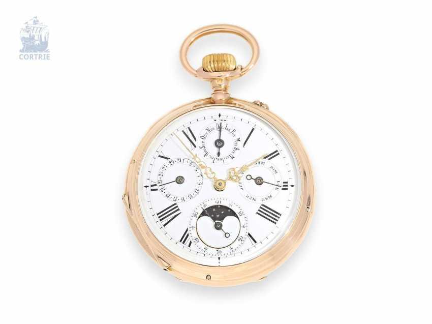Pocket watch: astronomical calendar clock with moon phase, Benjamin Haas Jeune & Cie, Geneve, circa 1880, with original box - photo 1