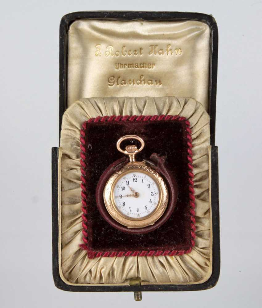 gold ladies pocket watch with case - photo 1