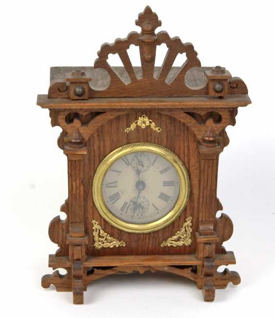 Green currently table clock with alarm clock, around 1900 - photo 1