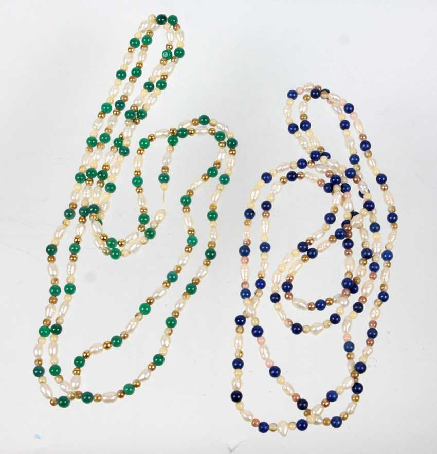 2 long fresh water pearl necklaces - photo 1