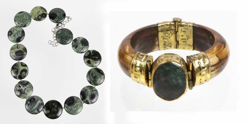 Achat Armspange u. Obsidiankette - photo 1