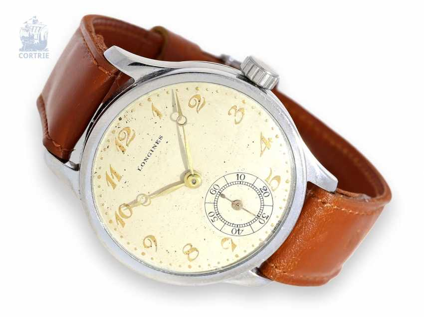 Watch: early, rare, large Longines men's watch in stainless steel, CA. 1938 - photo 1