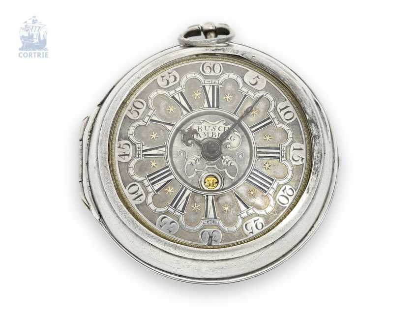 Pocket watch: an interesting and rare German pocket watch with date, Abraham Albert Busch of Hamburg, No. 524, CA. 1710 - photo 1