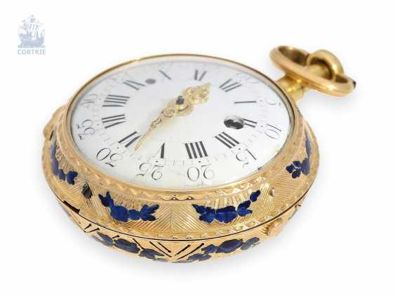 Pocket watch: very fine Gold/enamel Spindeluhr with repeater à toc et à tact, Romilly à Paris, No. 6528, around 1780 - photo 1