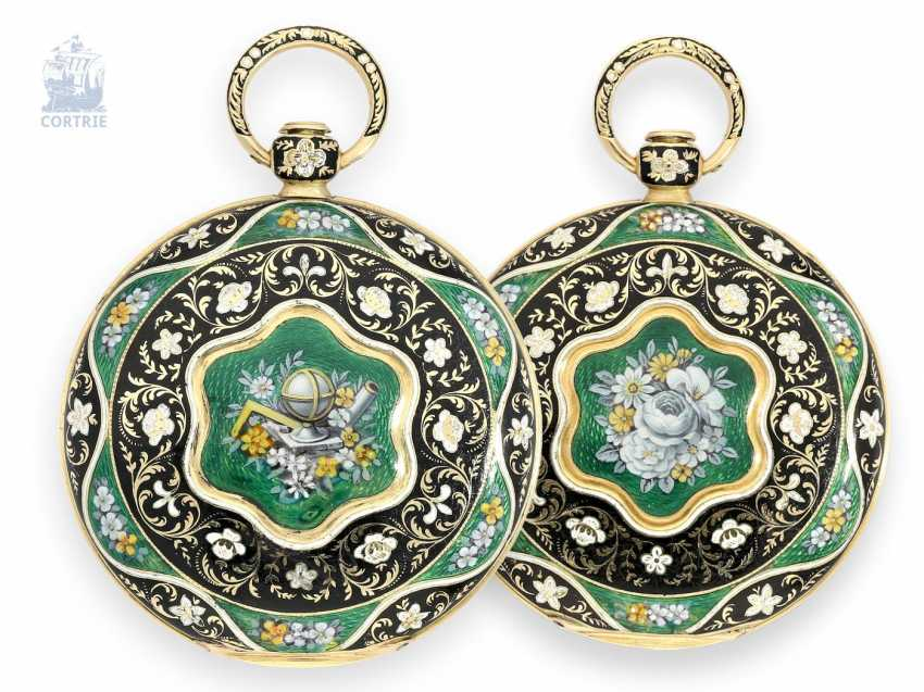 Pocket watch: very fine and very valuable Gold/enamel hunter-cased, LEROY, pupil and dear DE BREGUET NO. 4885, Paris, around 1820 - photo 1