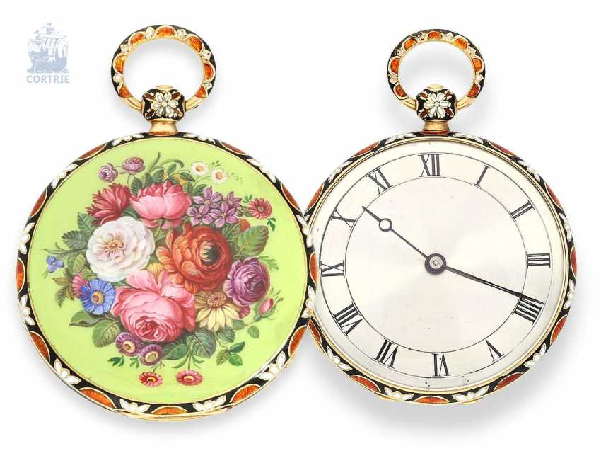 Pocket watch: fine Gold/enamel-Lepine for the Chinese market, fantastic magnifying glass painting, Jean-Francois Bautte & Cie, à Geneve No. 51333, around 1835 - photo 1