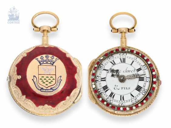 Pocket watch: very fine Geneva double case-Gold/enamel-Spindeluhr with stone trim, master watchmaker Isaac Soret & Fils, 1760, former noble possession - photo 1