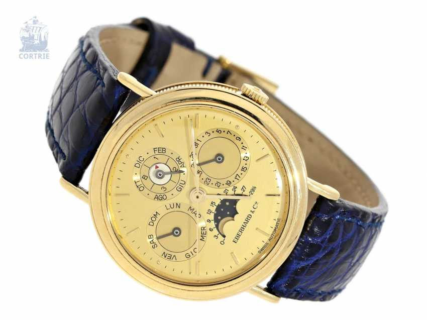 """Watch: vintage, Eberhard calendar clock with perpetual calendar and moon-phase """"Les Quantiemes Ref.30006"""" in 18K Gold, new-old-stock ! - photo 1"""