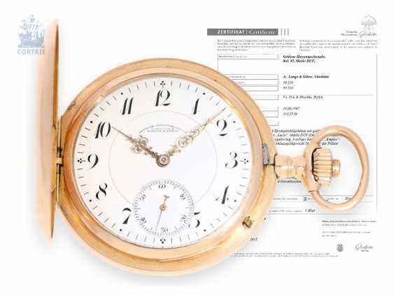 Pocket watch: large size, red-gold Savonnette, A. Lange & Söhne Glashütte, No. 59210, with original certificate and archive documents, Glashütte, 1907 - photo 1