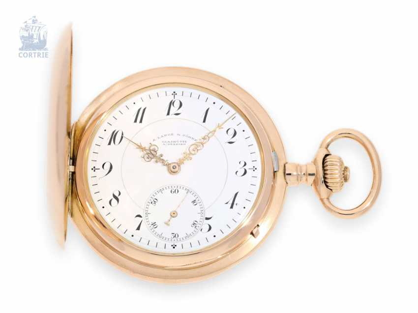Pocket watch: very fine red-gold Savonnette, A. Lange & Sohne quality 1A, Glashütte, around 1906, with the master excerpt from the book - photo 1