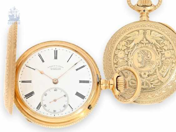 Pocket watch: extremely rare A. Lange & Söhne Glashütte gold savonnette with Professor Graff-Renaissance housing, No. 19136, CA. 1883 - photo 1