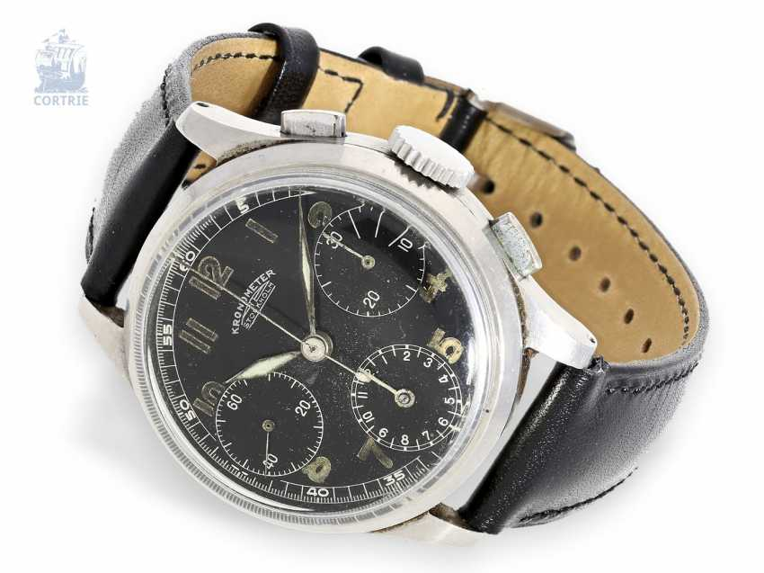 Watch: rare and early Chronograph, Kronometer Stockholm steel, circa 1945 - photo 1