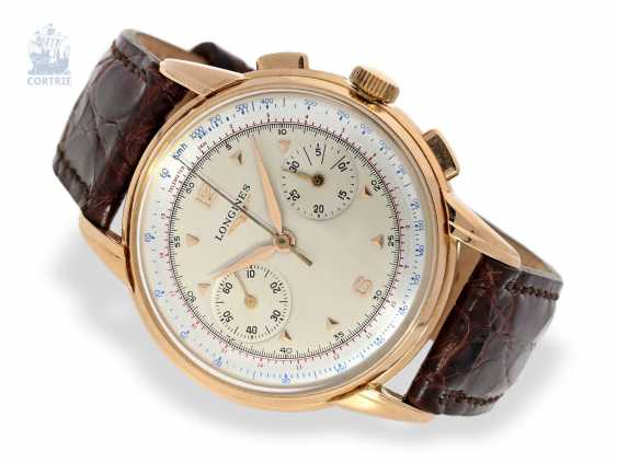 Watch: very fine and very rare rose gold Longines Chronograph, Ref.5966 in excellent state of preservation, CA. 1956 - photo 1